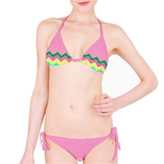 Easter Chevron Pattern Stripes Bikini Set