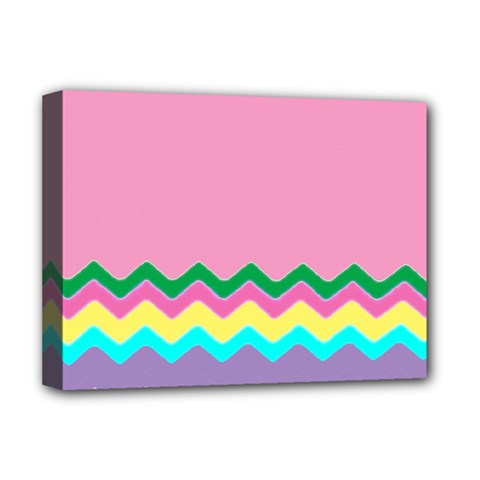 Easter Chevron Pattern Stripes Deluxe Canvas 16  x 12