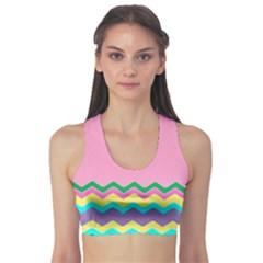 Easter Chevron Pattern Stripes Sports Bra