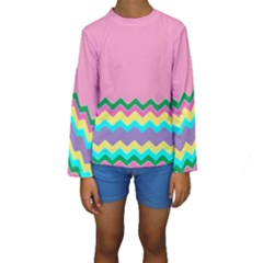 Easter Chevron Pattern Stripes Kids  Long Sleeve Swimwear