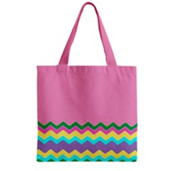 Easter Chevron Pattern Stripes Grocery Tote Bag