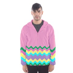 Easter Chevron Pattern Stripes Hooded Wind Breaker (men)