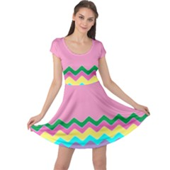 Easter Chevron Pattern Stripes Cap Sleeve Dresses