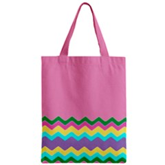 Easter Chevron Pattern Stripes Zipper Classic Tote Bag