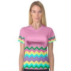 Easter Chevron Pattern Stripes Women s V Neck Sport Mesh Tee