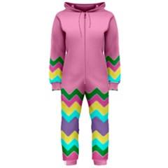 Easter Chevron Pattern Stripes Hooded Jumpsuit (ladies)