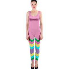 Easter Chevron Pattern Stripes Onepiece Catsuit
