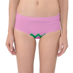 Easter Chevron Pattern Stripes Mid Waist Bikini Bottoms
