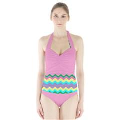 Easter Chevron Pattern Stripes Halter Swimsuit