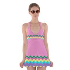 Easter Chevron Pattern Stripes Halter Swimsuit Dress