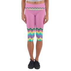 Easter Chevron Pattern Stripes Capri Yoga Leggings