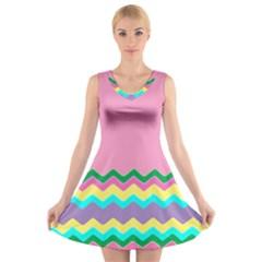 Easter Chevron Pattern Stripes V Neck Sleeveless Skater Dress