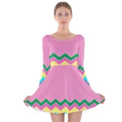 Easter Chevron Pattern Stripes Long Sleeve Velvet Skater Dress
