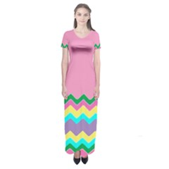Easter Chevron Pattern Stripes Short Sleeve Maxi Dress