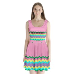 Easter Chevron Pattern Stripes Split Back Mini Dress