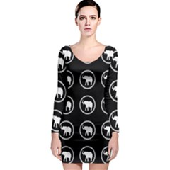 Elephant Wallpaper Pattern Long Sleeve Bodycon Dress