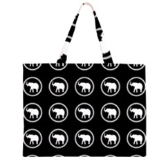 Elephant Wallpaper Pattern Zipper Large Tote Bag