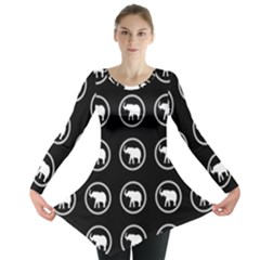 Elephant Wallpaper Pattern Long Sleeve Tunic