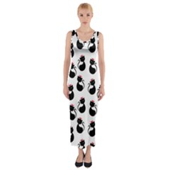Cat Seamless Animal Pattern Fitted Maxi Dress