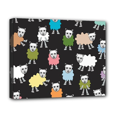 Sheep Cartoon Colorful Deluxe Canvas 20  X 16