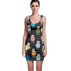 Sheep Cartoon Colorful Sleeveless Bodycon Dress