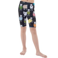 Sheep Cartoon Colorful Kids  Mid Length Swim Shorts