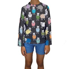 Sheep Cartoon Colorful Kids  Long Sleeve Swimwear