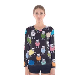 Sheep Cartoon Colorful Women s Long Sleeve Tee