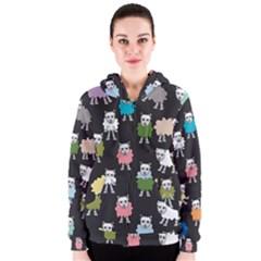 Sheep Cartoon Colorful Women s Zipper Hoodie
