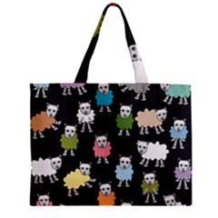 Sheep Cartoon Colorful Zipper Mini Tote Bag