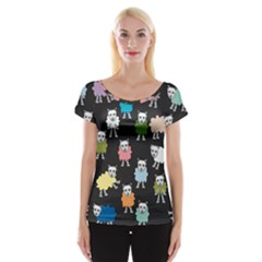 Sheep Cartoon Colorful Women s Cap Sleeve Top