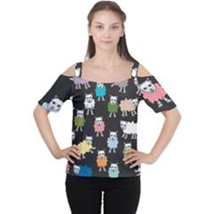 Sheep Cartoon Colorful Women s Cutout Shoulder Tee