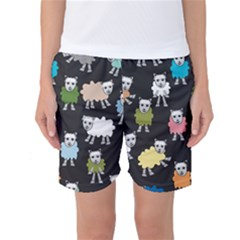 Sheep Cartoon Colorful Women s Basketball Shorts