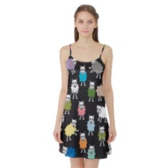 Sheep Cartoon Colorful Satin Night Slip