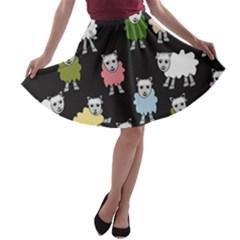 Sheep Cartoon Colorful A-line Skater Skirt
