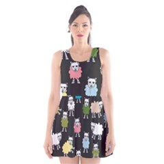 Sheep Cartoon Colorful Scoop Neck Skater Dress