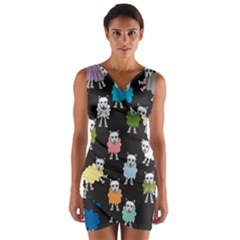 Sheep Cartoon Colorful Wrap Front Bodycon Dress
