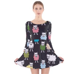 Sheep Cartoon Colorful Long Sleeve Velvet Skater Dress