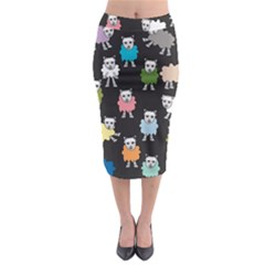 Sheep Cartoon Colorful Midi Pencil Skirt