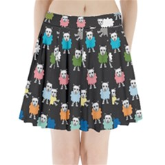 Sheep Cartoon Colorful Pleated Mini Skirt