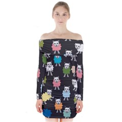 Sheep Cartoon Colorful Long Sleeve Off Shoulder Dress