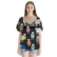 Sheep Cartoon Colorful Flutter Sleeve Top