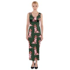Dog Animal Pattern Fitted Maxi Dress