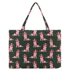 Dog Animal Pattern Medium Zipper Tote Bag