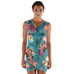 Lovely Colorful Flower Design  Wrap Front Bodycon Dress