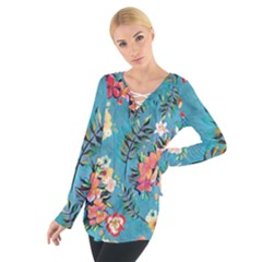 Lovely Colorful Flower Design  Women s Tie Up Tee