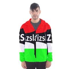 Vizsla Silo Name On Hungary Flag Hooded Wind Breaker (Men)
