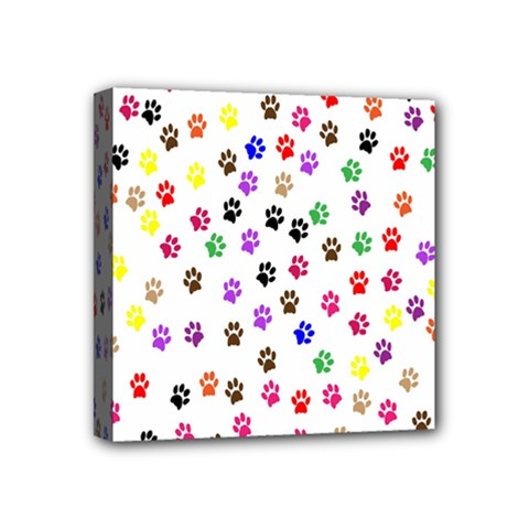 Paw Prints Background Mini Canvas 4  x 4