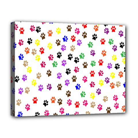 Paw Prints Background Canvas 14  X 11