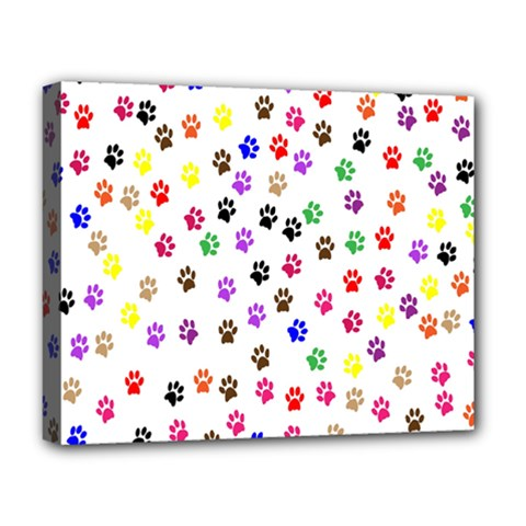 Paw Prints Background Deluxe Canvas 20  x 16